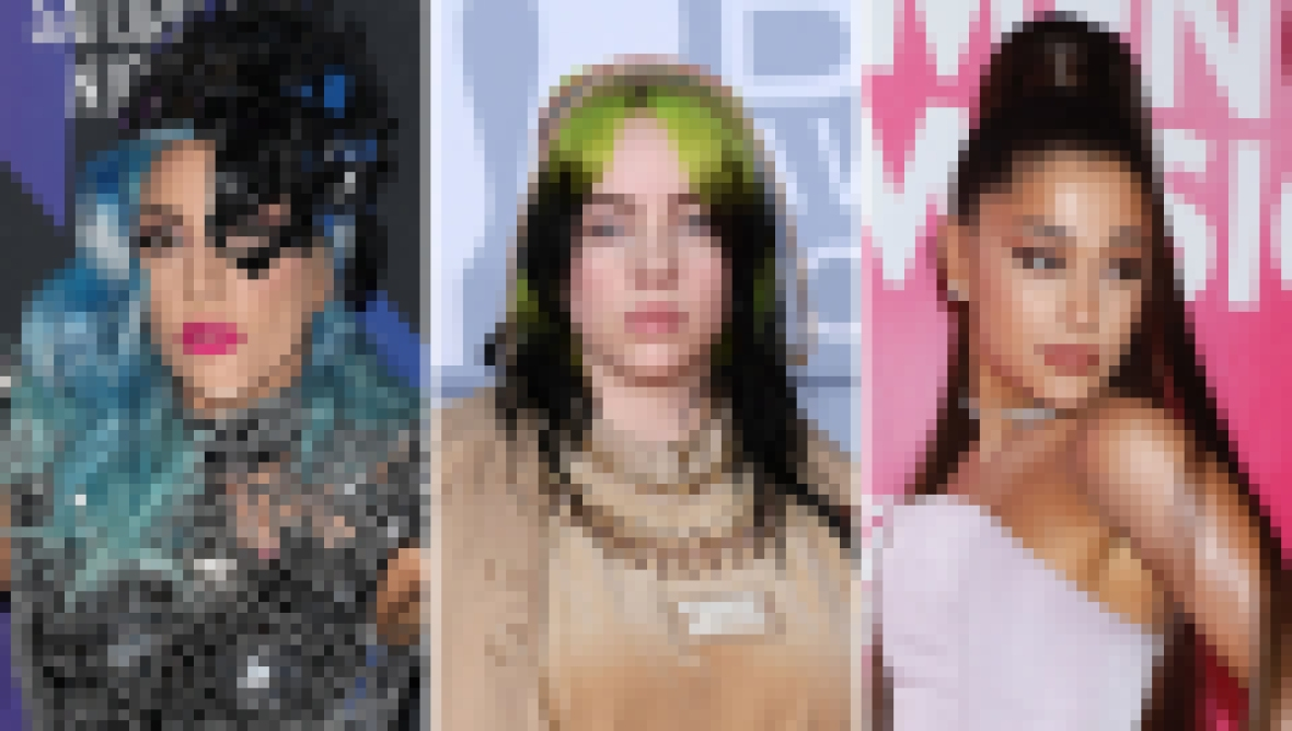 Side-by-Side Photos of Lady Gaga, Billie Eilish and Ariana Grande