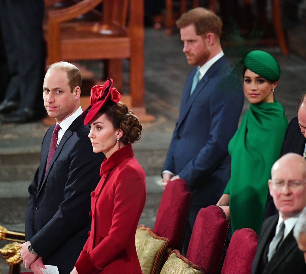 Meghan Markle With Prince Harry and Duchess Kate Middleton With Prince William at Commonwalth Day Service in March 2020