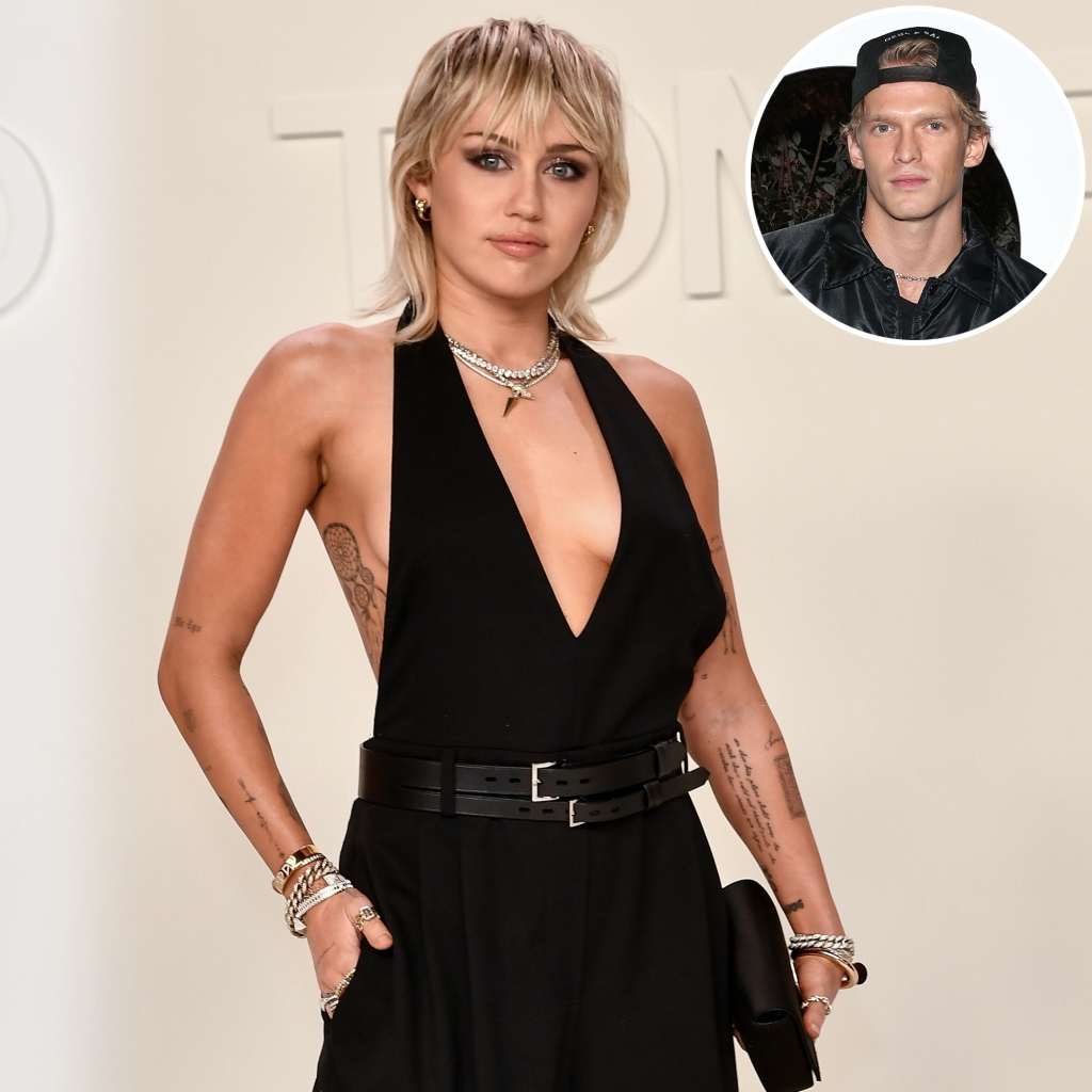 Inset Photo of Cody Simpson Over Photo of Miley Cyrus