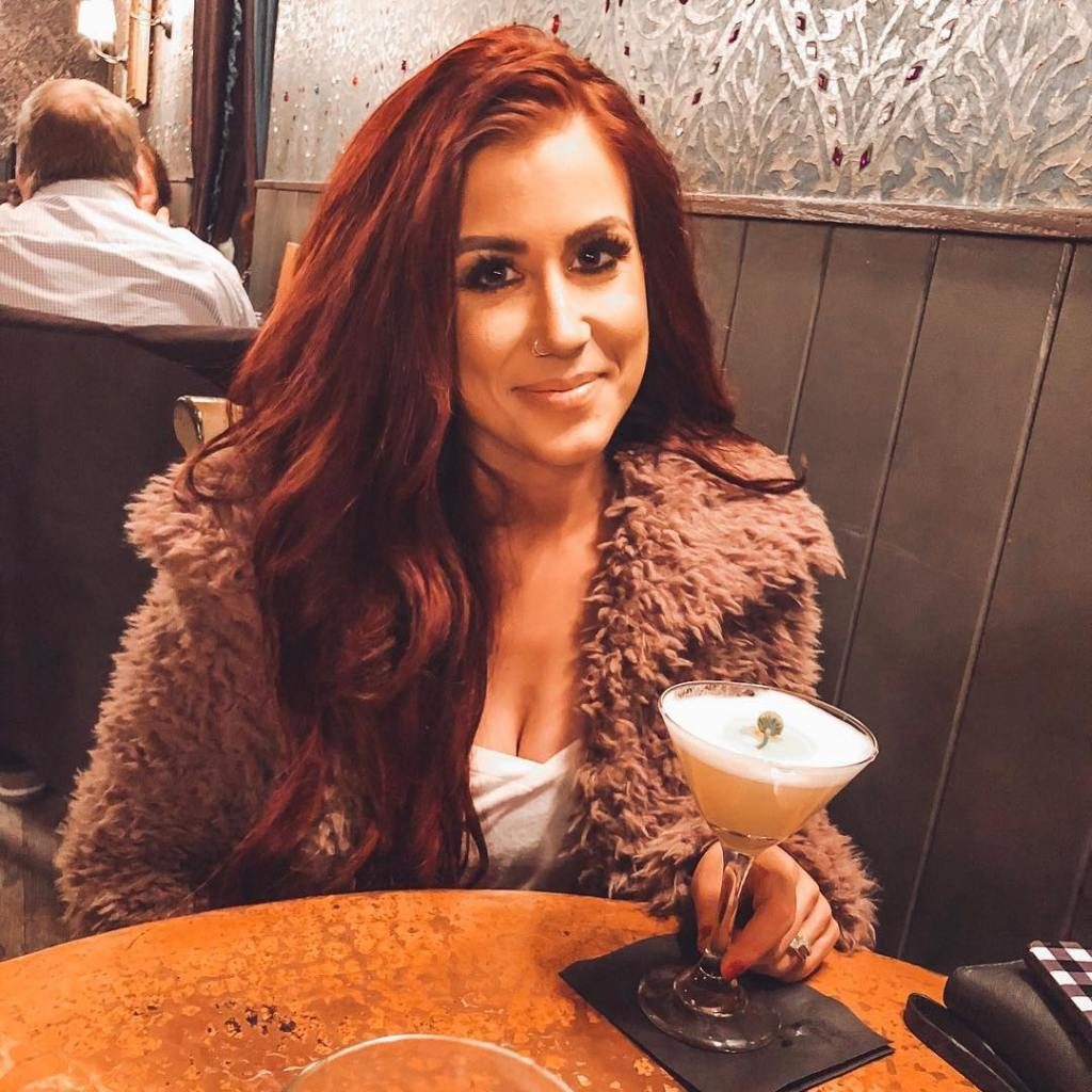 Chelsea Houska Drinking a Cocktail