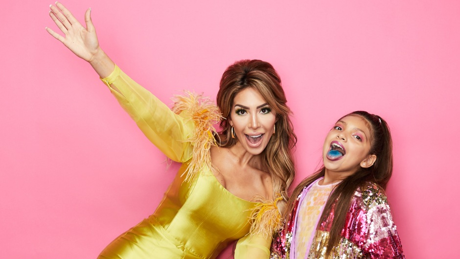 Farrah Abraham in Gold Jumpsuit and Daughter Sophia in Pink and Gold Outfit at Beautycon Festival