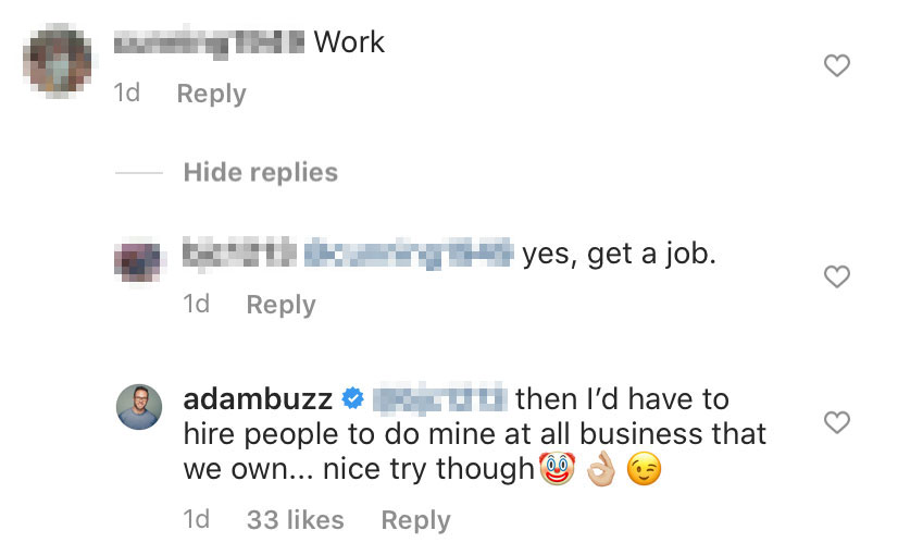 Adam Busby Claps Back at Troll Who Says He Doesn't Work