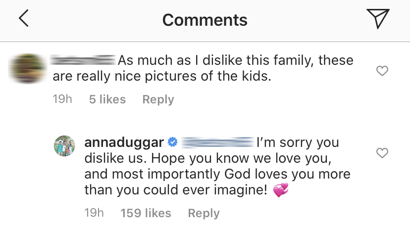 Anna Duggar Claps Back at Troll on Instagram About Her Family