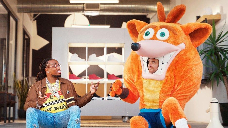 Rapper Quavo and Crash Bandicoot