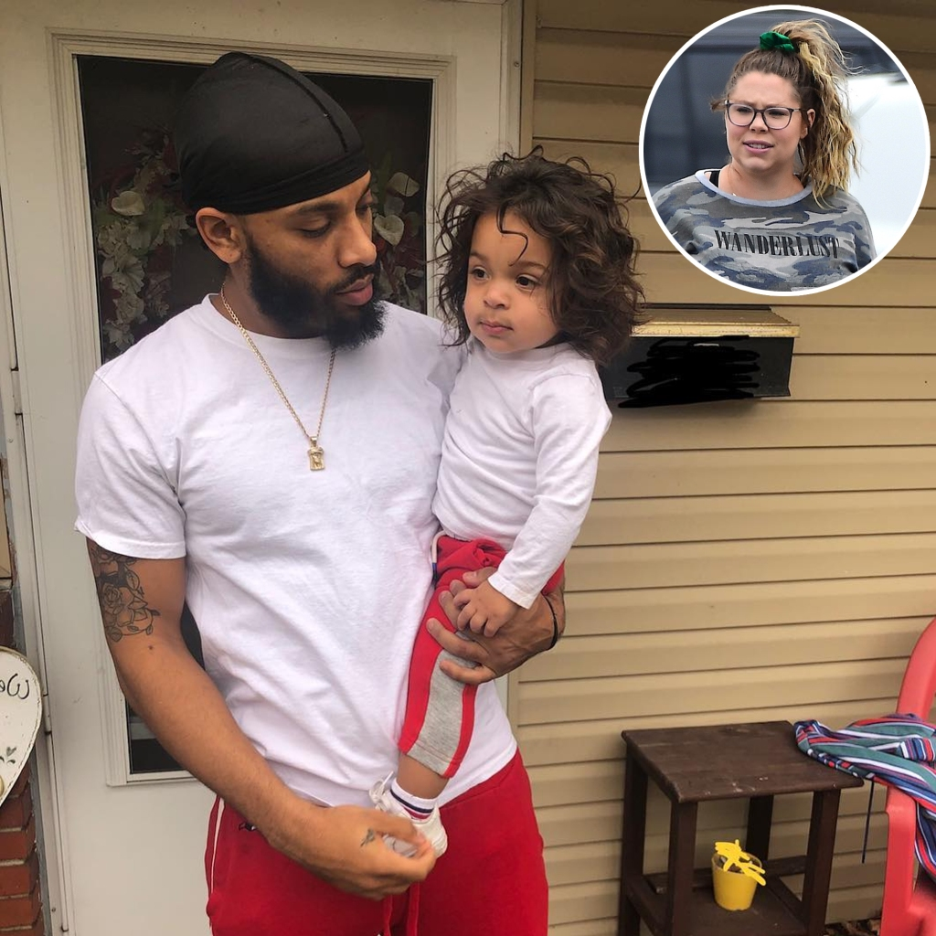 Inset Photo of Kailyn Lowry Over Photo of Chris Lopez Holding Son Lux