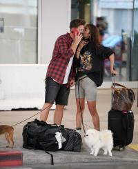 EXCLUSIVE: Hot new couple Jef Holms and Francesca Farago arrive back in Los Angeles together