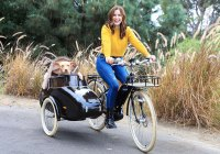 Sophia Bush takes her pup Maggie for a spin on her new Bluejay electric bicycle