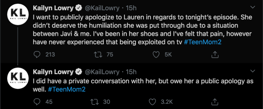 teen mom 2 kailyn apologizes to lauren