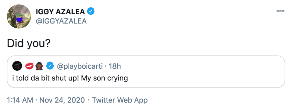 Iggy Azalea Claps Back at Ex Playboi Carti's Cryptic Tweet