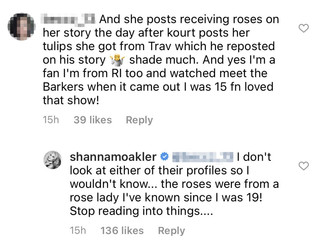 Shanna Moakler Claps Back Fan Who Claims She Shaded Kourtney Kardashian With Bouquet Roses