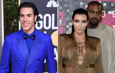 Sacha Baron Cohen Pokes Fun at Kim and Kanye West's Divorce