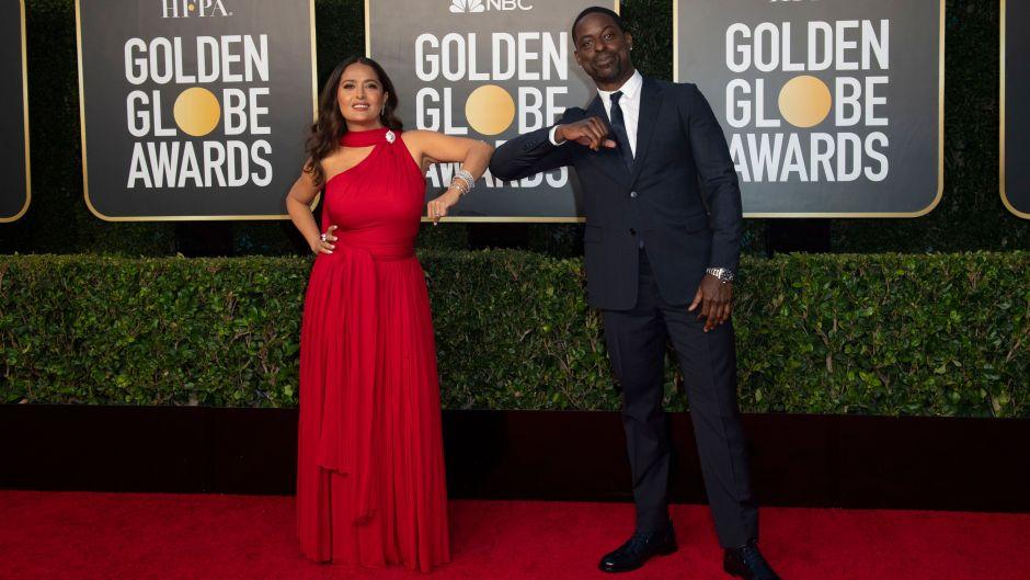 Sterling K Brown and Salma Hayek Golden Globes Carpet
