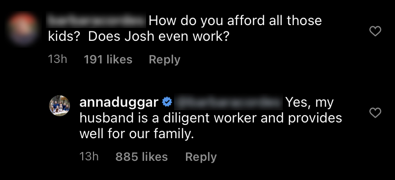 Anna Duggar Claps Back at Fan Who Asks if She and Josh Can 'Afford' Baby No. 7