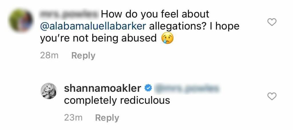shanna moakler responds to daughter alabama barker's claims