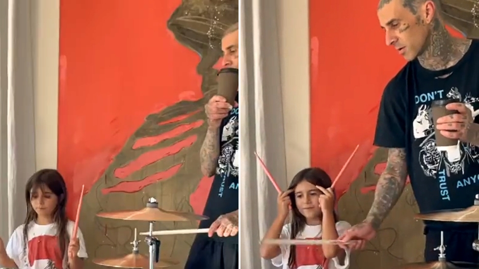 Travis Barker Helps Penelope Disick Learn to Play the Drums
