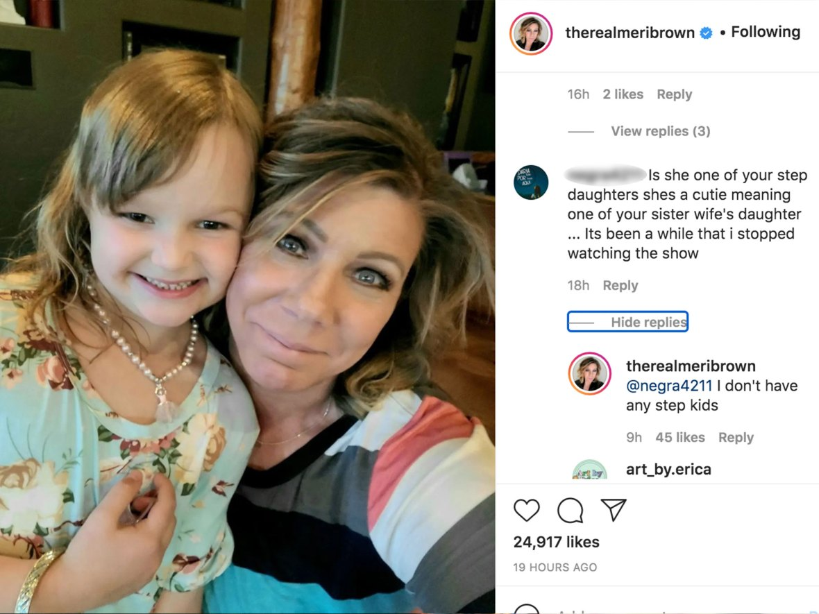 Sister Wives' Meri Claps Back at Troll Criticizing Bond With Robyn's Daughter