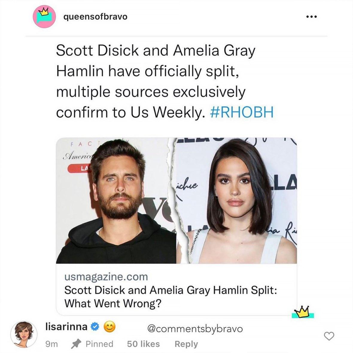 Shade! Lisa Rinna Reacts to Daughter Amelia Dumping BF Scott Disick