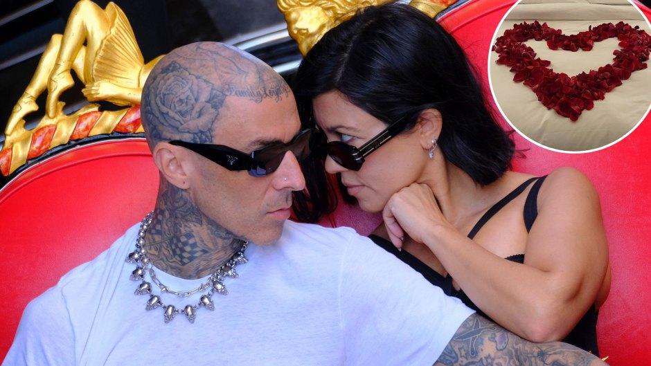 Sexy Time Kourtney Kardashian Travis Barker Celebrate Their Engagement Bed Rose Petals